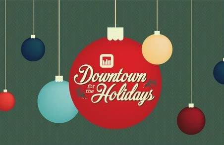 "christmas ornaments with wors ""Downtown for the Holidays"""