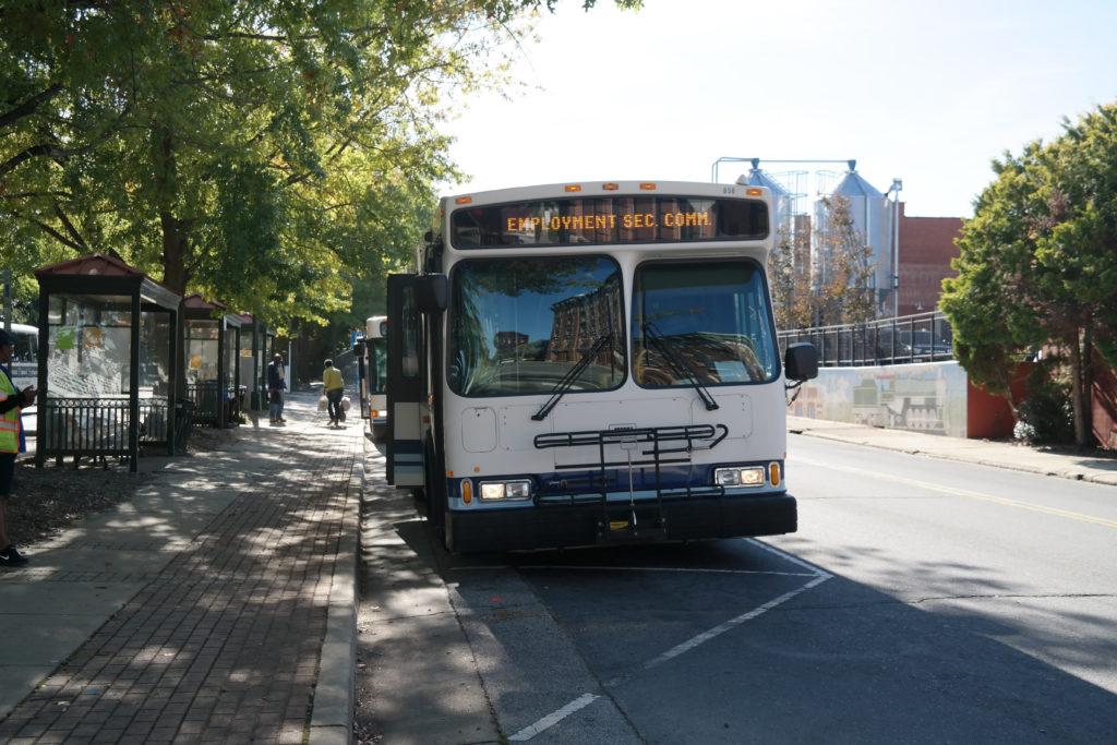 Salisbury Transit Bus waiting at the bus depot.