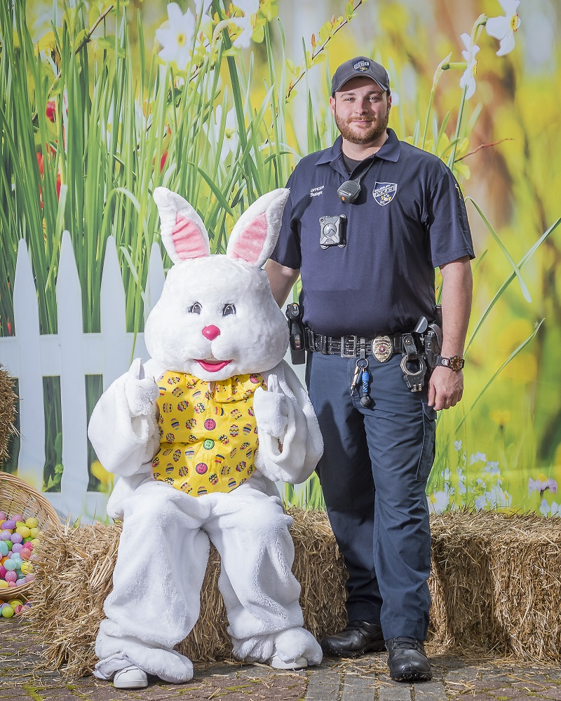 Easter Bunny with Police Officer
